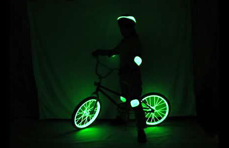 glowing bike with litroenergy New Light Source Lasts 15 Years Without a Recharge