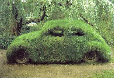 grass covered car What Does it Mean When Vehicles Go Green?
