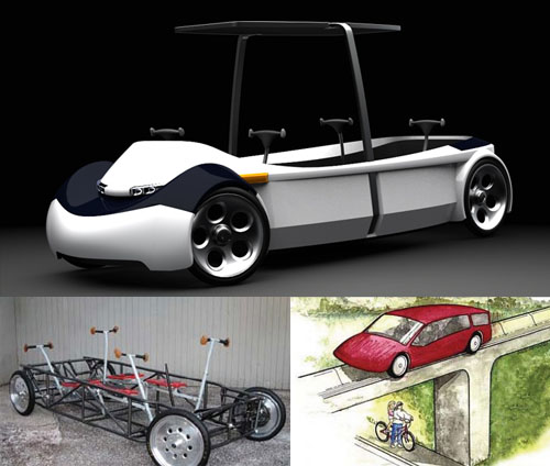 sketches and mockups of the human powered vehicle 21st Century Flintstones Car Finally for Sale