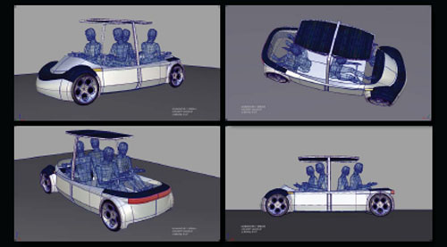 wireframe rendering of human powered vehicle 21st Century Flintstones Car Finally for Sale