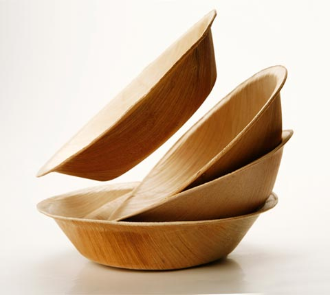 Compostable, reusable plates by Verterra made completely from fallen leaves.