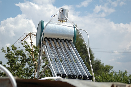 Modern solar water heater. Photo by Abri Beluga