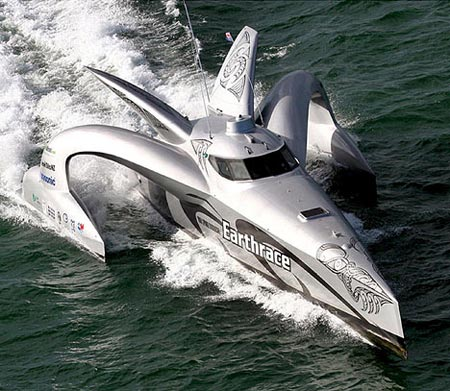 This futuristic speed boat is powered completely by biomass fuels, including fuel produced by the owners body fat.