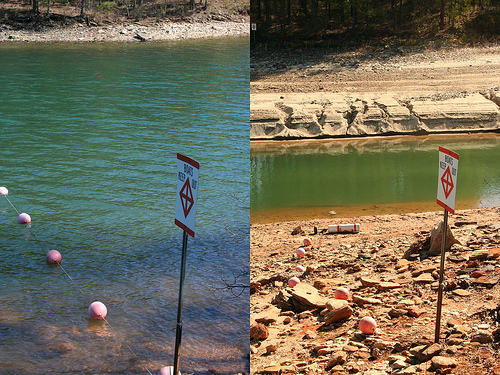 Lake Lanier, Georgia.  Water level change in 11 months.  Photo by Brian Hursey