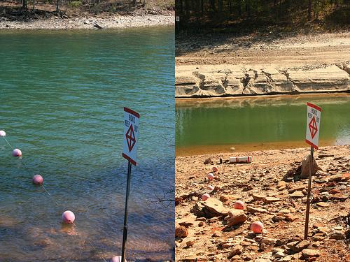 Lake Lanier, Georgia.  Water level change in 11 months.  Photo by Brian Hursey