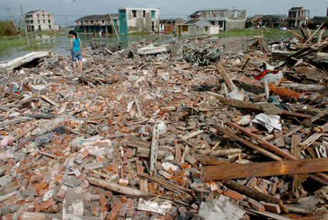 Typhoon Saomai claimed over 100 lives and more than 50,000 homes in China, Aug. 2006. The worst storm in half a century. Via National Geographic
