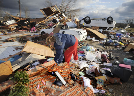 Feb. 2008, at least 48 deaths blamed on tornadoes from Texas to Indiana.